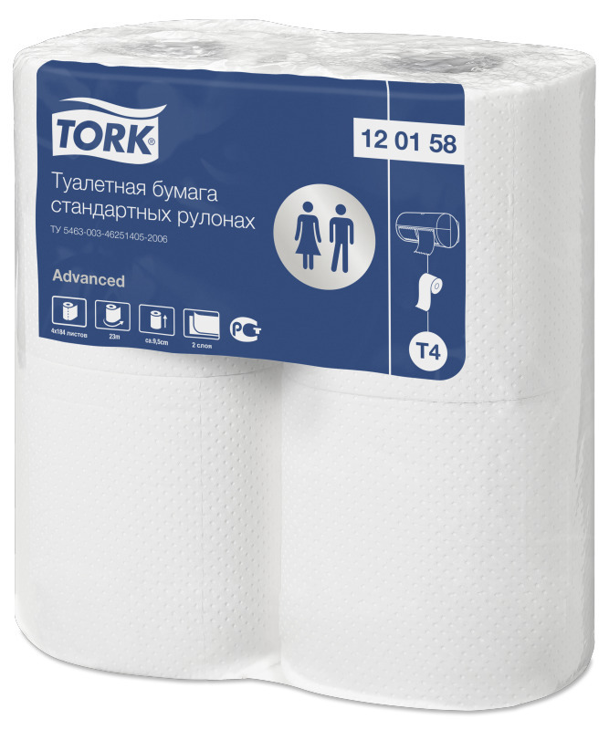 Туалетная бумага Tork Advanced в стандартных рулонах, 2 слоя