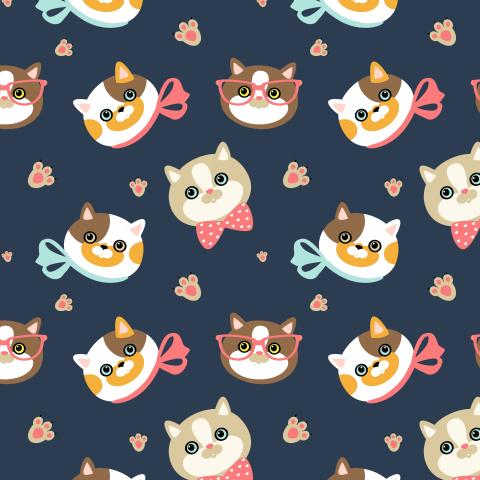 милые мордочки кошек на синем фоне