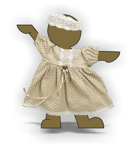 Платье хлопок с кружевом - Демонстрационный образец. Одежда для кукол, пупсов и мягких игрушек.