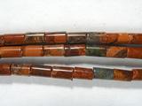 Нить бусин из яшмы красной, фигурные, 2x4 мм (цилиндр, гладкая)