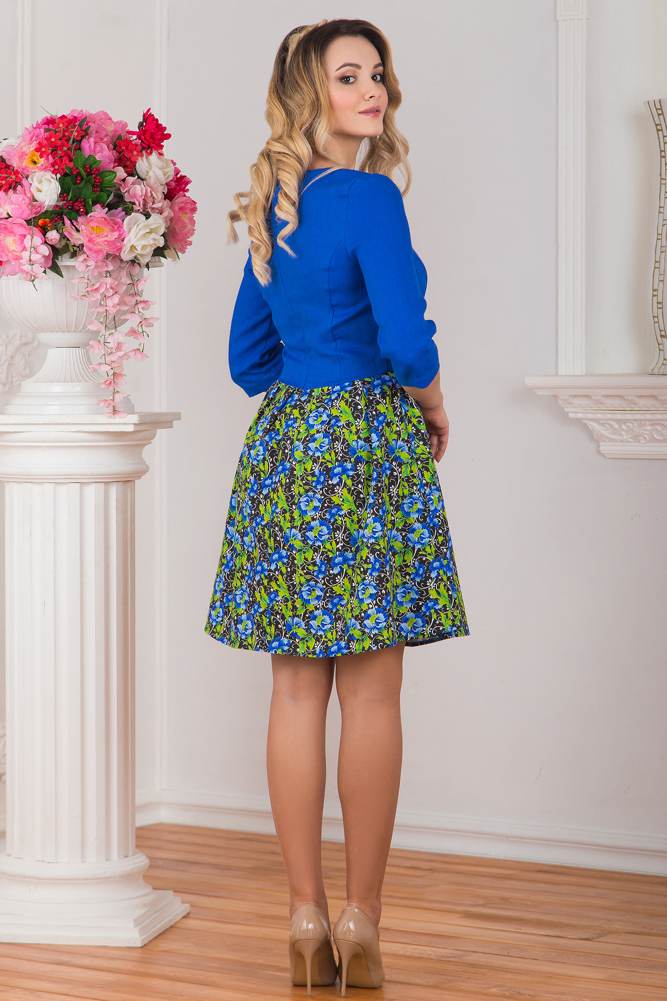 Платье льняное Васильки вид сзади