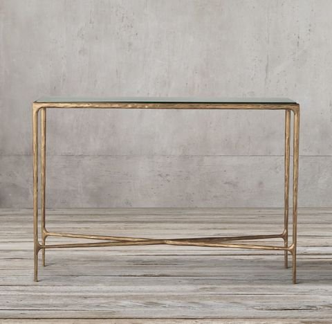 Thaddeus Forged Brass & Glass Rectangular Entry Console