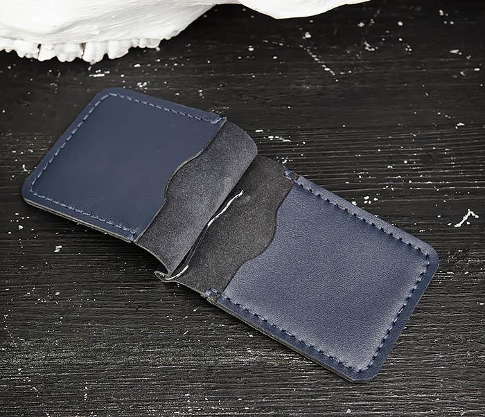 WB178-3 Зажим для денег ручной работы из синей кожи фото 03