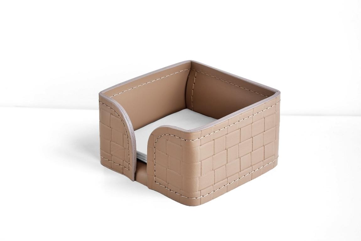 лоток для блока бумаг бежевый из кожи с тиснением