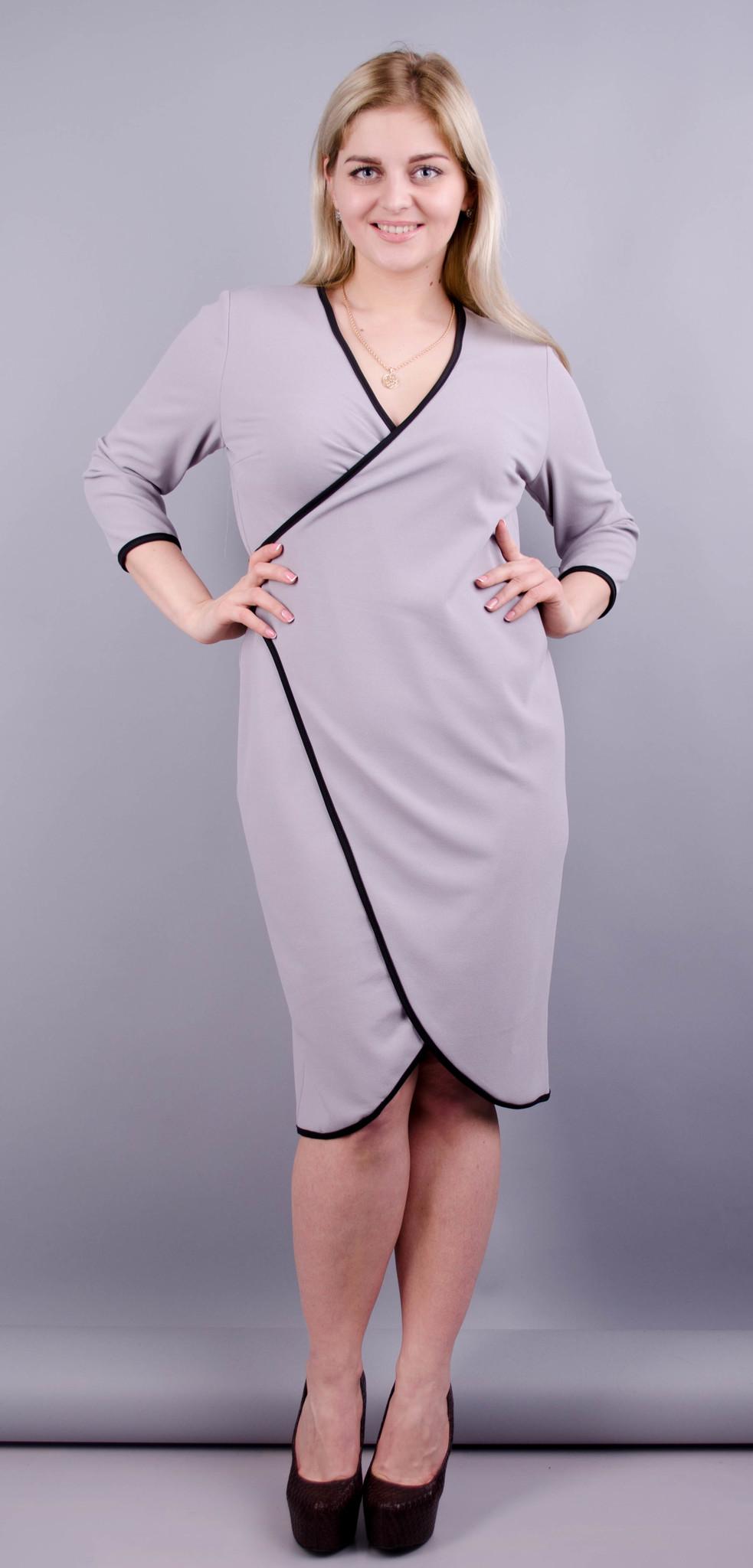 Нателла. Оригінальна сукня великих розмірів. Сірий.