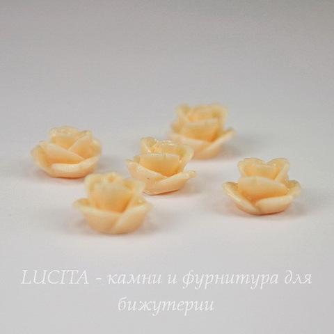 """Кабошон акриловый """"Розочка"""", цвет - персиковый, 10 мм, 5 штук"""