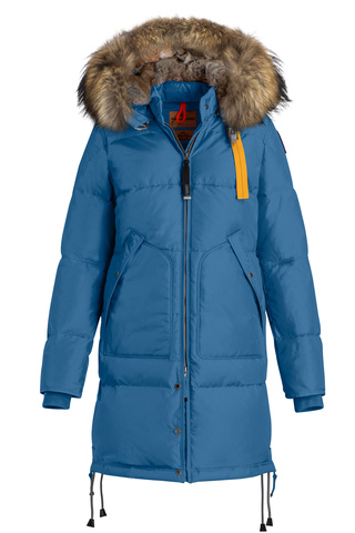 Пальто жен Parajumpers LONG BEAR 542 голубая, капюшон енот