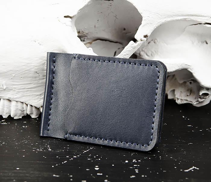 WB178-3 Зажим для денег ручной работы из синей кожи фото 04