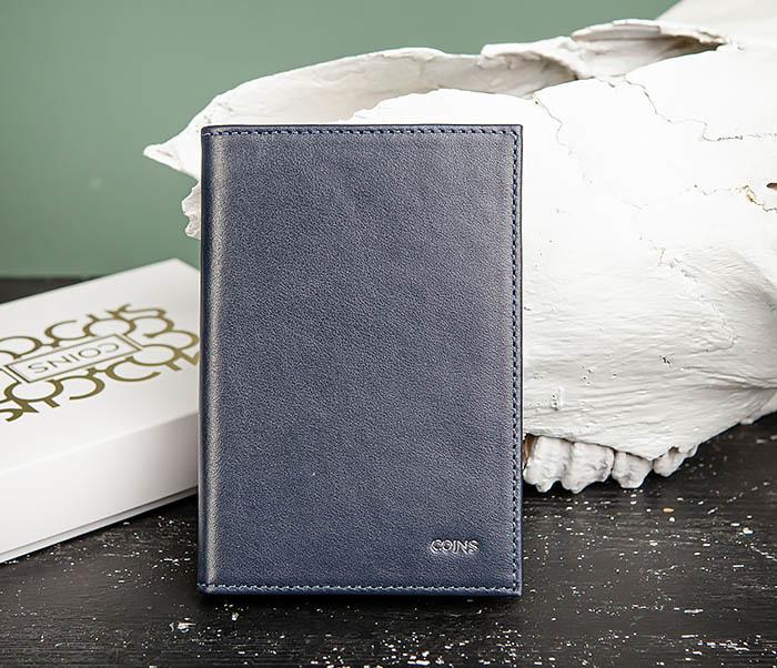 BC216-3 Кожаная обложка синего цвета для паспорта и карточек, «Moriz»
