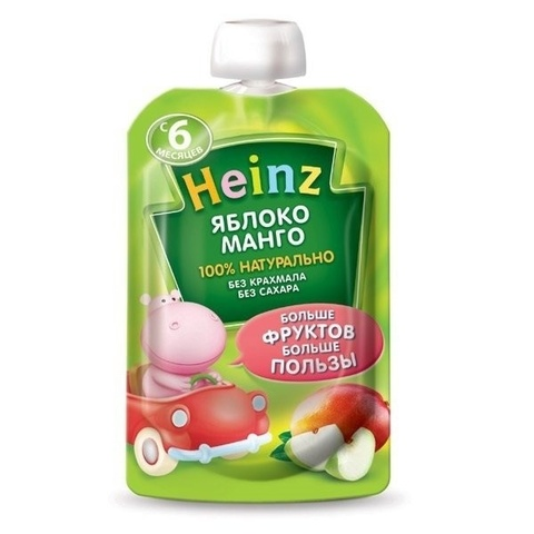 Heinz Пюре Яблоко-манго (пауч 90гр) с 6мес