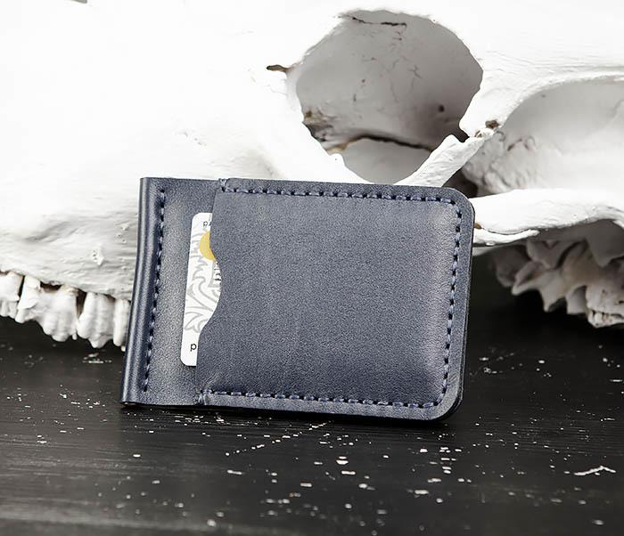 WB178-3 Зажим для денег ручной работы из синей кожи фото 05