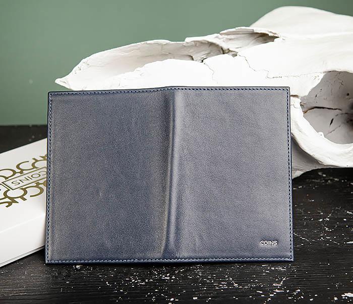 BC216-3 Кожаная обложка синего цвета для паспорта и карточек, «Moriz» фото 02