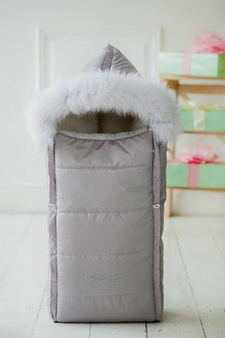 Зимний конверт для новорождённых с опушкой серый КВ1016