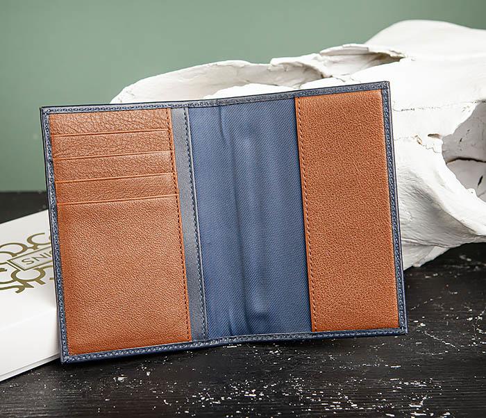 BC216-3 Кожаная обложка синего цвета для паспорта и карточек, «Moriz» фото 03