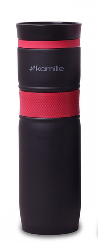Термокружка Kamille 900 мл  из нержавеющей стали с TPR-вставкой красная