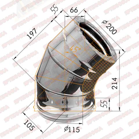 Отвод-сэндвич 135° d115x200мм (430/0,5 мм+оцинк) Ferrum