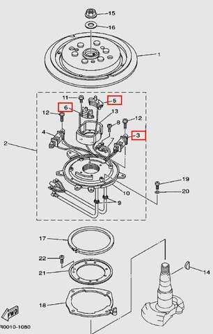 Катушка зажигания генераторная (+ 2 импульсные) для лодочного мотора Т30 Sea-PRO (8-3/5/6)