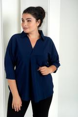 Айрис. Женская блузка больших размеров. Синий
