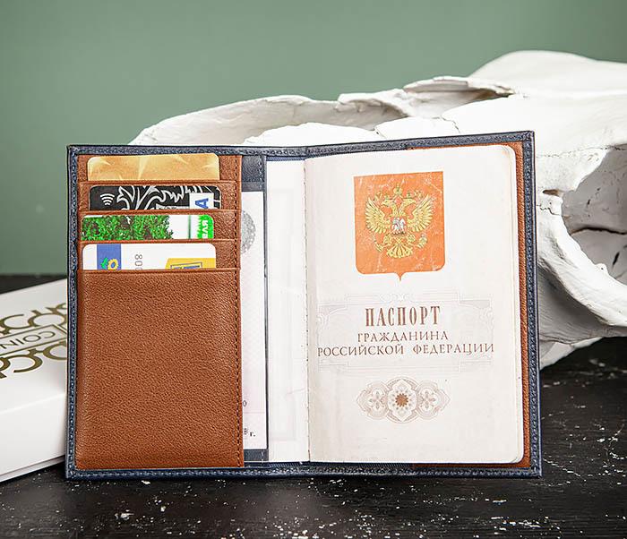 BC216-3 Кожаная обложка синего цвета для паспорта и карточек, «Moriz» фото 04