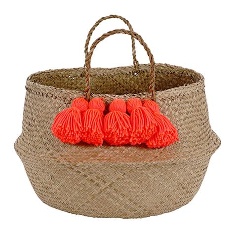 Корзина для белья с кисточками, коралловый, неон