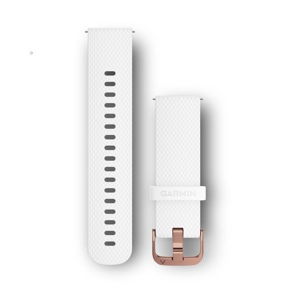 Силиконовый ремешок Garmin белый с креплением розовое золото