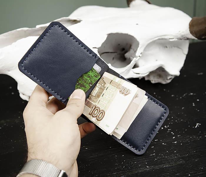 WB178-3 Зажим для денег ручной работы из синей кожи фото 08