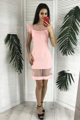 Лола. Оригинальное молодежное коктейльное платье. Пудра