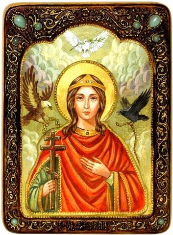 Инкрустированная живописная икона Святая Великомученица Ирина Македонская 29х21см на натуральном кипарисе в подарочной коробке