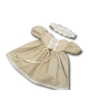 Платье хлопок с кружевом - Бежевый. Одежда для кукол, пупсов и мягких игрушек.