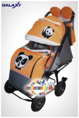 Санки коляски GALAXY CITY 1-1 «оранжевый» с надувными колёсами