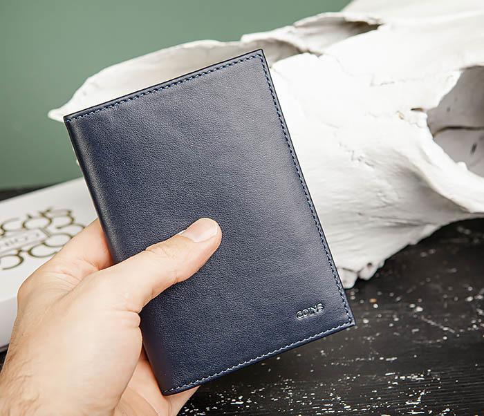 BC216-3 Кожаная обложка синего цвета для паспорта и карточек, «Moriz» фото 06