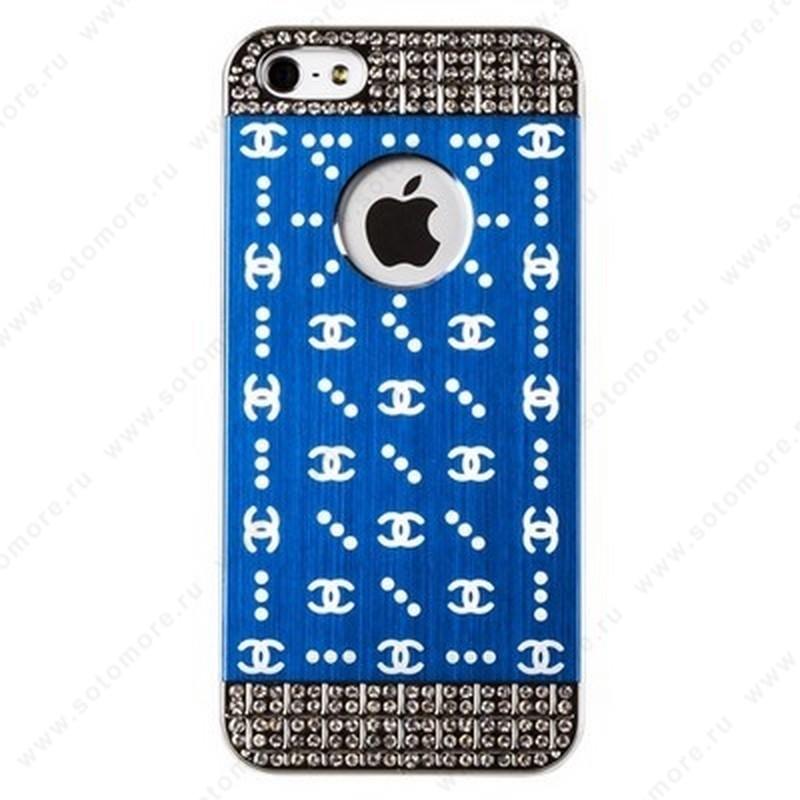 Накладка CHANEL металлическая для iPhone SE/ 5s/ 5C/ 5 серебро синяя