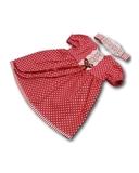 Платье хлопок с кружевом - Красный. Одежда для кукол, пупсов и мягких игрушек.
