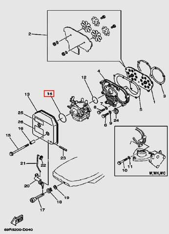 Кольцо уплотнительное карбюратора кольцо 2×43 для лодочного мотора Т30 Sea-PRO (4-14)