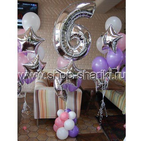 shop-shariki.ru фонтан из шаров с цифрой 6 и звездамина день рождения