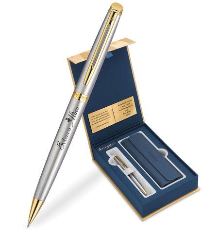 Набор с гравировкой: Чехол и Шариковая ручка Waterman  Hemisphere Essential, St. Steel GT123