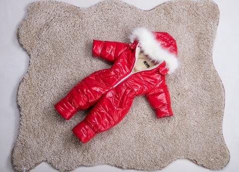 Зимний комбинезон детский цельный Look красный блеск