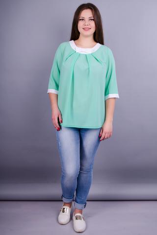 Рената. Стильная блуза больших размеров. Мята.