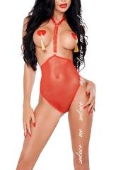 Прозрачное боди с открытым бюстом Linda красное