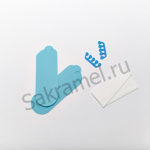 Комплект для аппаратного педикюра (тапочки-вьетнамки 3 мм, салфетка 30х40 см - 2 штуки, разделители для пальцев 8 мм) (1 комплект, упаковка)