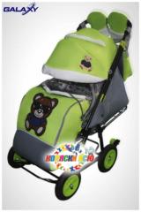 Санки коляски GALAXY CITY 1-1 «зелёный» с надувными колёсами