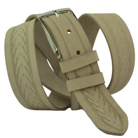 Ремень мужской бежевый брючный кожаный с тиснением российского производства 35 мм 35Corona-034