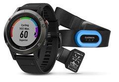 Умные мужские спортивные часы Garmin Fenix 5 - серые с черным ремешком и HRM-Tri 010-01688-30