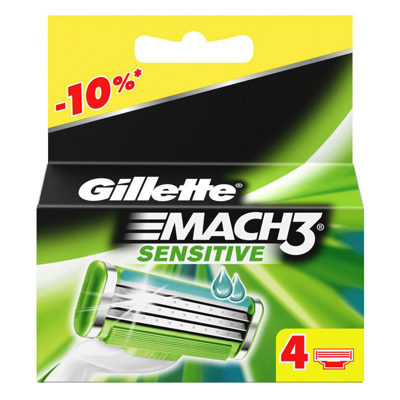 Кассеты Gillette Mach3 Sensitive 4 шт