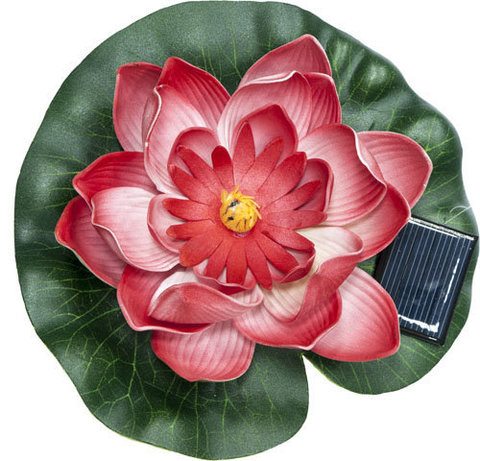 Светильник садово-парковый на воду на солнечной батарее «Кувшинка» красный, 1 RGB LED, 170*170*60мм, PL263 (Feron)