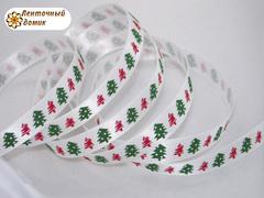 Лента атласная красно-зеленые елочки на белом 9 мм