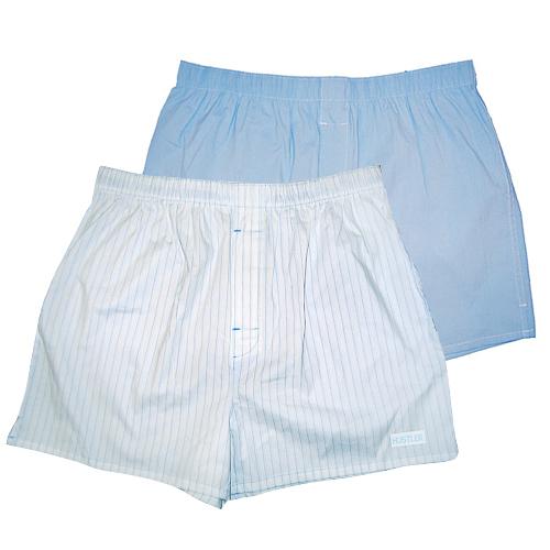 Мужское белье: Комплект из 2 мужских трусов-шортов: голубых и белых в полоску