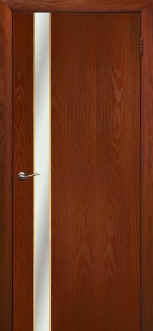 Дверь Дубрава Сибирь Маэстро, зеркало с рисунком/молдинг золото, цвет итальянский орех, остекленная