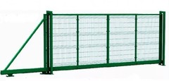 Откатные ворота с заполнением сеткой 4000х2000 МИКРО