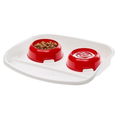 Миски, диспенсеры Пластиковый поднос с мисками, Ferplast LINDO, для кошек и собак 44,5 х 34 х h7 см, 0,6 л LINDO_1.jpg